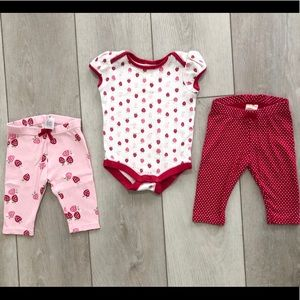 Gymboree strawberry onesie set